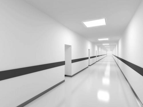 Abstract white office corridor interior. 3d render illustration
