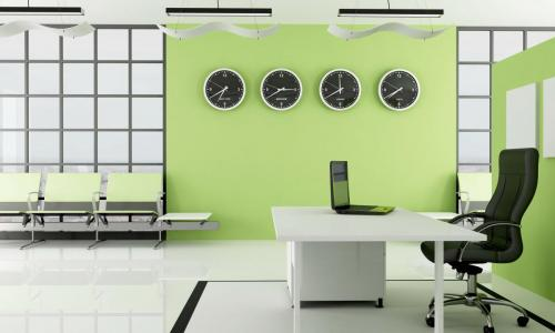 green  office with waiting space