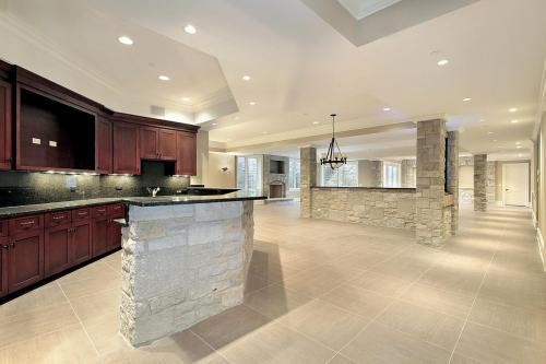 Stone bar and kitchen in basement